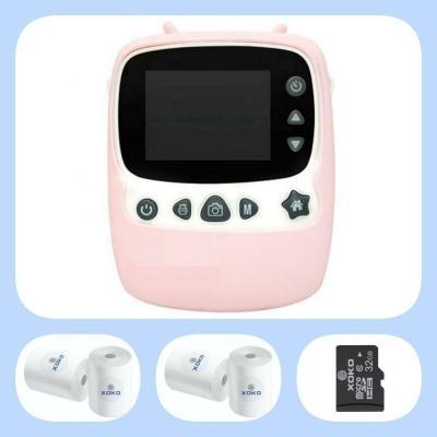 Комплект!Цифровой детский фотоаппарат-принтер XOKO KVR-1000 Розовый+бумага для печати (4 шт) + карта памяти 32Gb