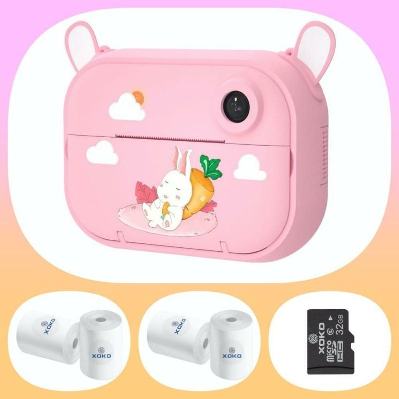 Цифровий дитячий фотоапарат-принтер XOKO KVR-1500 Рожевий зайка + папір (4 од) + карта пам'яті 32 Gb