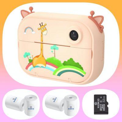 Цифровой детский фотоаппарат-принтер XOKO KVR-1500 Оранжевый Жираф+бумага для печати (4 шт) + карта памяти 32Gb