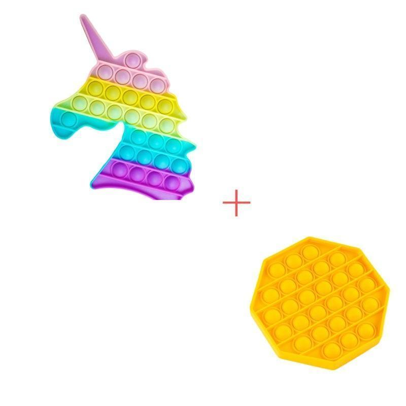 Набор 2 в 1: Игрушка антистресс Sibelly Pop It Единорог Glow in Dark + Mono Восьмиугольник Yellow