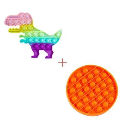 Набор 2 в 1: Игрушка антистресс Sibelly Pop It Динозавр Glow in Dark + Mono Круг Orange