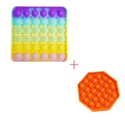 Набір 2 в 1 : Іграшка антистрес Sibelly Pop It Квадрат Glow in Dark + Mono Восьмикутник Orange