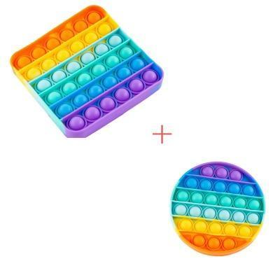 Набір 2 в 1: Іграшка антистрес Sibelly Pop It Rainbow Коло + Rainbow Квадрат