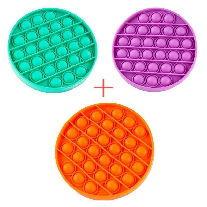 Набор 3 в 1: Игрушка антистресс Sibelly Pop It Mono Круг Mint + Orange + Violet