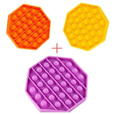 Набір 3 в 1: Іграшка антистрес Sibelly Pop It Mono Коло Mint + Orange + Violet