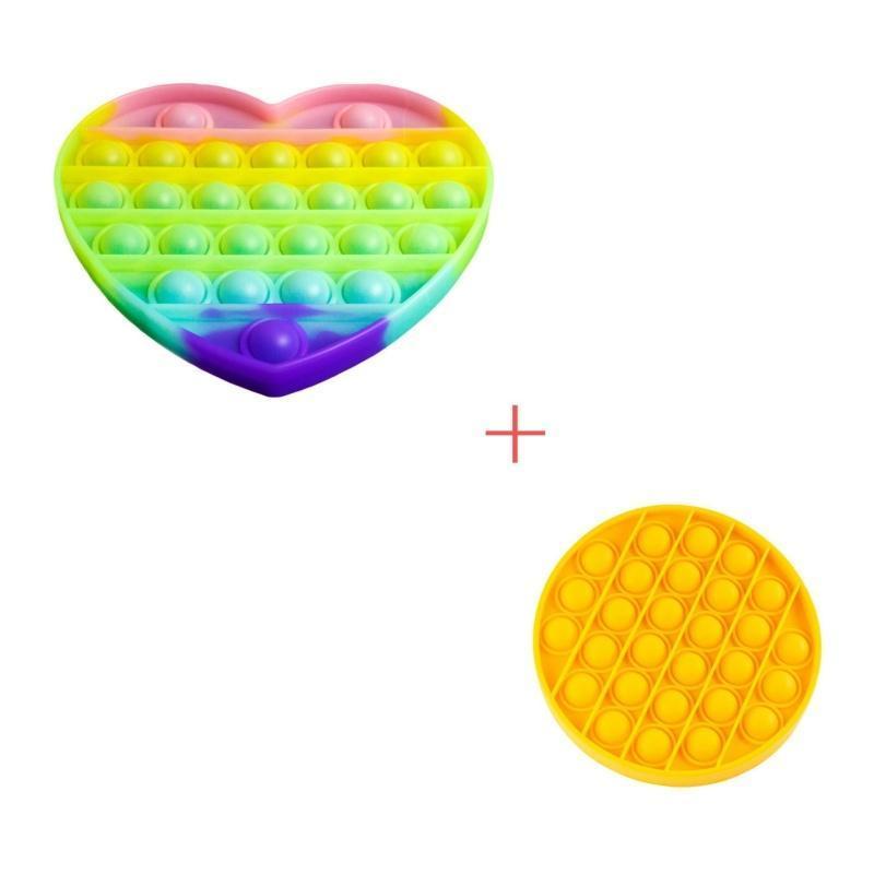 Набір 2 в 1: Іграшка антистрес Sibelly Pop It Сердце Glow in Dark + Mono Коло Yellow
