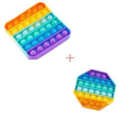 Набір 2 в 1: Іграшка антистрес Sibelly Pop It Rainbow Восьмикутник + Rainbow Квадрат